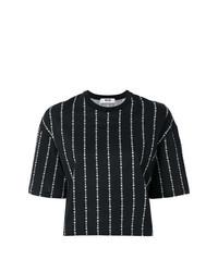 MSGM Brand Stripe Cropped T Shirt