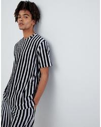 Mennace T Shirt In Navy Stripe Towelling