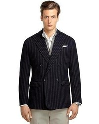 Brooks Brothers Navy Stripe Double Breasted Knit Blazer