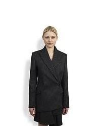 Stella McCartney Asymmetrical Double Breasted Pinstripe Blazer Charcoal