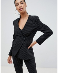 ASOS DESIGN Suit Blazer With Sharp Shoulders In Cut About Pinstripe