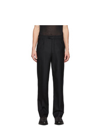 Ann Demeulemeester Black Fleece Wool Gessato Trousers