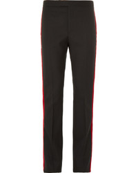 Saint Laurent Black Velvet Trimmed Wool Trousers