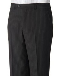 Savile Row Striped Flat Front Black Suit Pants