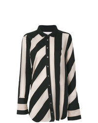Black Vertical Striped Dress Shirt