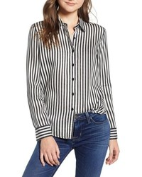 Hudson Jeans Button Sleeve Stripe Shirt