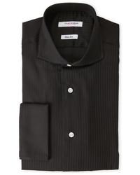 Isaac Mizrahi Black Tonal Stripe Slim Fit Dress Shirt