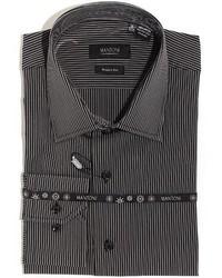 Mantoni Black Wrinkle Free Cotton Shirt