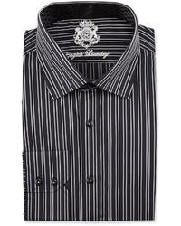 English Laundry Striped Long Sleeve Dress Shirt Black