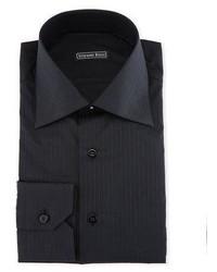 Stefano Ricci Tonal Striped Dress Shirt Black