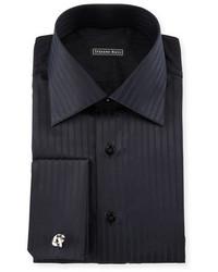 Stefano Ricci Tonal Striped French Cuff Dress Shirt Black
