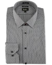 Neiman Marcus X Trim Regular Finish Striped Dress Shirt Black