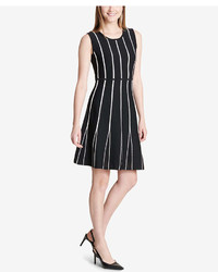 Calvin Klein Striped Fit Flare Dress