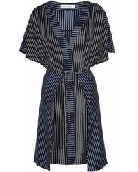 Diane von Furstenberg Tie Front Layered Striped Silk Twill Dress