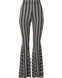 Beaufille Lamos Striped Ribbed Stretch Knit Flared Pants