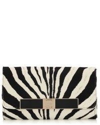 Cat black and white zebra print pony evening bag medium 163628