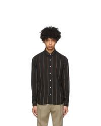 AMI Alexandre Mattiussi Black Striped Summer Fit Shirt