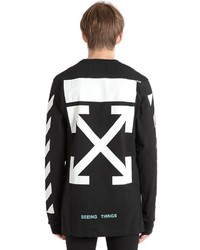 Off-White Stripes Printed Cotton Jersey T Shirt