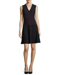 Kate Spade New York Sleeveless Striped Fit And Flare Sweaterdress Blackmulticolor