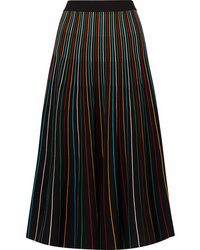 REDVALENTINO Striped Cotton Blend Midi Skirt