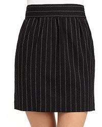 Black Vertical Striped Mini Skirt