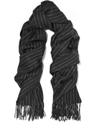 Rag & Bone Pinstriped Merino Wool Scarf Black