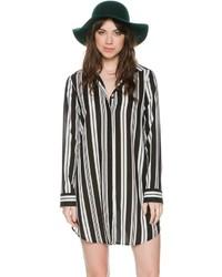 Black Vertical Striped Shirtdress