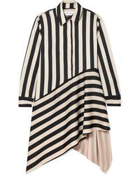 MARQUES ALMEIDA Asymmetric Striped Satin Shirt Dress