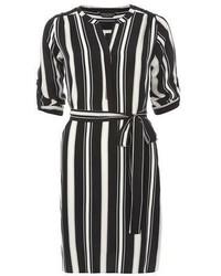 Dorothy Perkins Black And Camel Stripe Shirt Dress