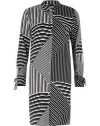 River Island Black Stripe Block Print Shirt Dress