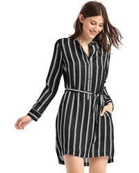 Gap Printed Tie Belt Long Sleeve Shirtdress