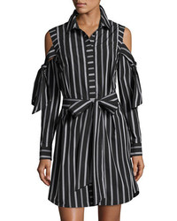 Riley cold shoulder striped cotton shirtdress black medium 3772341