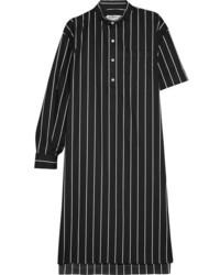Balenciaga Striped Cotton Poplin Shirt Dress Black