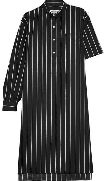 45b69e4532 ... Balenciaga Striped Cotton Poplin Shirt Dress Black ...