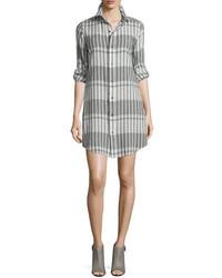 Current/Elliott The Prep School Striped Shirtdress Black Scarf Strip