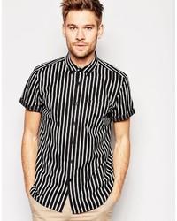 Black Vertical Striped Short Sleeve Shirt