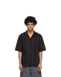 Acne Studios Black And Red Striped Short Sleeve Shirt