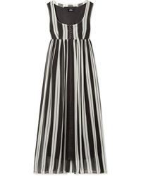 Marc Jacobs Striped Silk Tte Maxi Dress