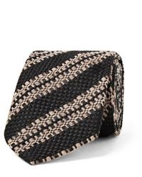 Dries Van Noten 6cm Striped Wool Silk And Linen Blend Tie