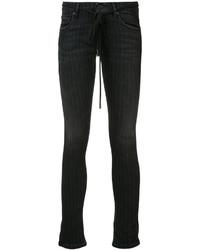 Black Vertical Striped Skinny Jeans