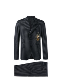 Dolce & Gabbana Pinstripe Musical Patch Suit