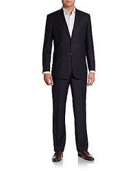 Saks fifth avenue black pinstripe wool suit medium 221230