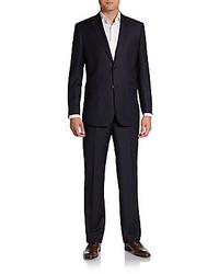 Saks fifth avenue black pinstripe wool suit medium 221230
