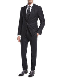 Tom Ford Shelton Base Pinstripe Flannel Wool Silk Two Piece Suit