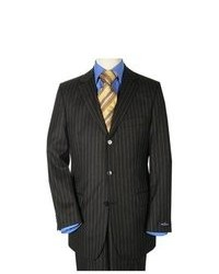 suitUSA 3 Button Black Pinstripe Suit