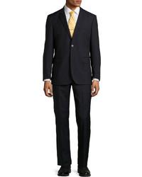 Neiman Marcus Two Piece Narrow Stripe Wool Suit Black