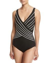 Gottex Embrace Surplice Striped One Piece Swimsuit Black