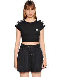 adidas 3 Stripes Cropped Cotton Jersey T Shirt