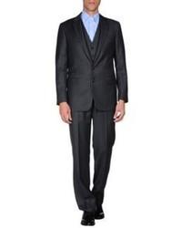 Black Vertical Striped Three Piece Suit