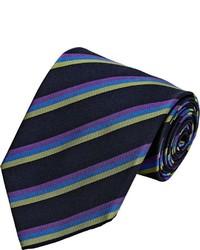 Etro Diagonal Striped Faille Necktie Black